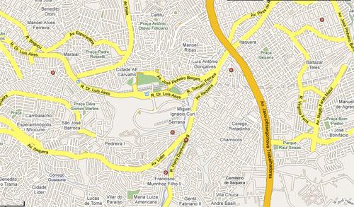 Mapa de uma parte da zona leste